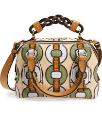 chloe small daria patchwork leather satchel - brown