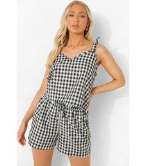 mix & match lichte gingham pyjama shorts, black