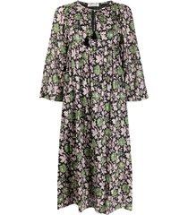 masscob foliage patterned tassel detail dress - pink