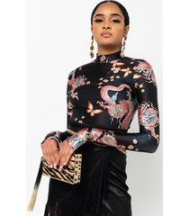 akira catching fire long sleeve mock neck crop top