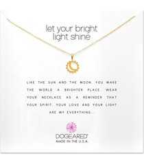 dogeared let your bright light shine, sun and moon necklace gold stone