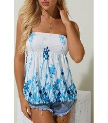 camisa sin mangas con estampado floral azul de yoins