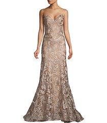 metallic embellished trumpet gown