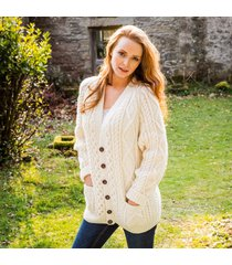 the malin handknit aran cardigan cream xl