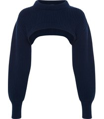 alexander mcqueen chunky ribbed knit cropped top - blue