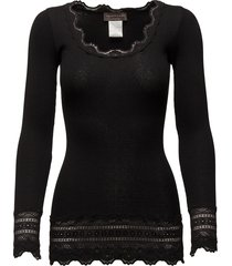 silk t-shirt medium ls w/wide lace t-shirts & tops long-sleeved zwart rosemunde