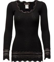 silk t-shirt medium ls w/wide lace t-shirts & tops long-sleeved zwart rosemunde
