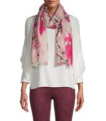 la fiorentina women's floral-print wool scarf - rose