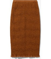 proenza schouler white label broderie anglaise smocked skirt tobacco/brown m