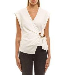 women's buckle wrap blouse