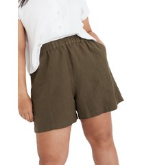 women's madewell women's linen blend easy pull-on shorts, size x-small - green