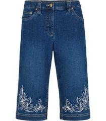 bermuda di jeans con bordura stampata e cinta comoda (blu) - bpc bonprix collection