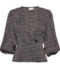 ilagz blouse ms21 blouse lange mouwen bruin gestuz