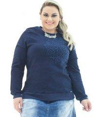 moletom jeans confidencial extra com bordado plus size feminino