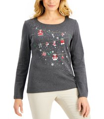 karen scott cotton embellished long-sleeve t-shirt, created for macy's