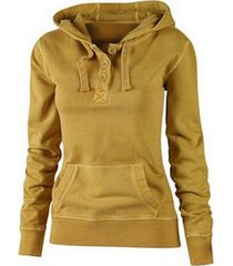 casual hooded solid color buttoned pocket pullover hoodie for women