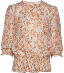 delicate semi smocking blouse blouses short-sleeved roze by ti mo