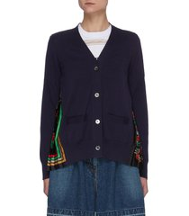 archive print pleated back panel cotton cardigan