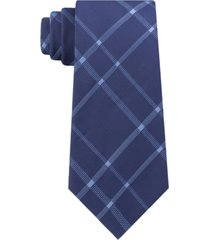 calvin klein men's stitch plaid slim silk tie