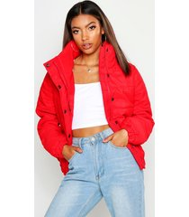 crop funnel neck padded jacket, red