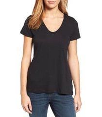 women's caslon rounded v-neck t-shirt, size xx-small - black