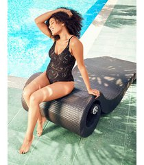 black lace non wired plunge tummy control one-piece swimsuit