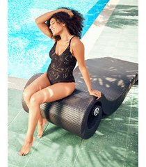 black lace plunge tummy control one-piece swimsuit