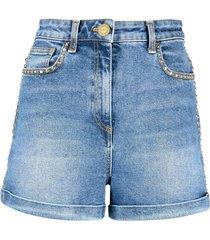 elisabetta franchi studded high-waisted denim shorts - blue