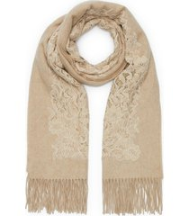 embellished floral lace trim colourblock cashmere scarf