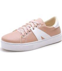 tenis sapatenis feminino top franca shoes branco / rosa