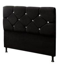 cabeceira casal 140cm para cama box livía suede preto - ds móveis