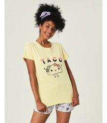 pijama taco feminino malwee liberta amarelo - p