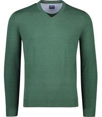 olymp pullover v-hals katoen groen