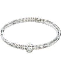 stainless steel & white topaz cuff bracelet