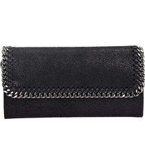 stella mccartney flap wallet black faux leather clutch