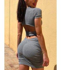 recorte cuadrado cuello mangas cortas vestido