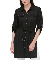 calvin klein belted high-low tunic