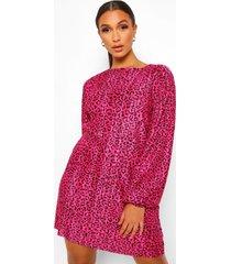 plisse loshangende dierenprint jurk met pofmouwen, roze