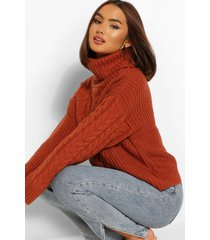 cable knit sweater, rust