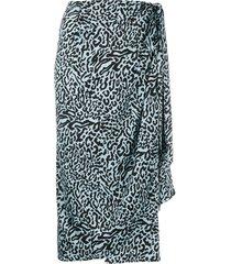 andamane leopard-print draped satin midi skirt - blue