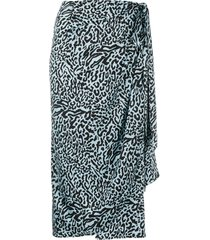 andamane leopard-print draped satin midi skirt - blue