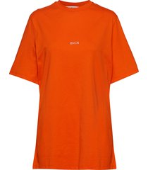 t-shirt t-shirts & tops short-sleeved oranje msgm