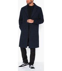 topman blue and black check houndstooth overcoat jackor dark blue