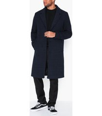 topman blue and black check houndstooth overcoat jackor dark blue