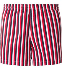 ron dorff vertical thin stripes swim shorts - red
