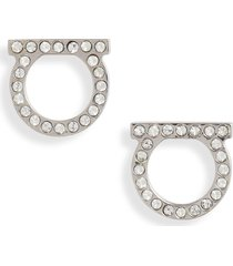 women's salvatore ferragamo medium pave gancio stud earrings