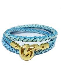 pulseira couro alice monteiro trançada 3 voltas azul. - kanui