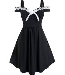 plus size bowknot guipure lace panel a line dress