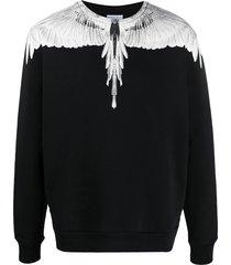 marcelo burlon county of milan wings crew neck sweatshirt - black