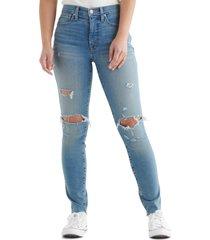 women's lucky brand bridgette ripped chewed hem skinny jeans, size 32 x 31 - blue